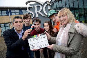 That's a wrap! (L-R) px group's Michael Derbyshire with budding film makers Matty Dickens, Taylor Henderson, Chloe Handley, Ollie Mawson and College Lecturer Kelly Fairhurst – who also runs the Page2Stage drama group.