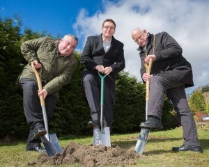 Helping with the planting of the new Lime trees are (left to right) Cllr. David Bawn, Sean Egan and Mayor of Morpeth Cllr. Nic Best.