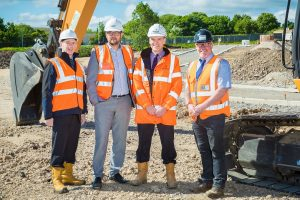 Picture caption:  Pictured at the Peterlee site are (left to right): Graham Wood, Economic Development Manager at Durham County Council; Cllr. Carl Marshall; Ian Prescott and Rob Rudd, Keepmoat Senior Site Manager.