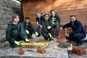 (L-R) Nadira Tasmin, Medeina Sipaviciute, Josh Bluff  and Falaq Nasim are building their construction skills