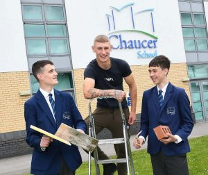 (L-R) Connor Pryor, Jake Saunders and Kaden Diver. An example of an apprentice – Jake Saunders (middle of picture) - inspiring other students to consider apprenticeships in construction.